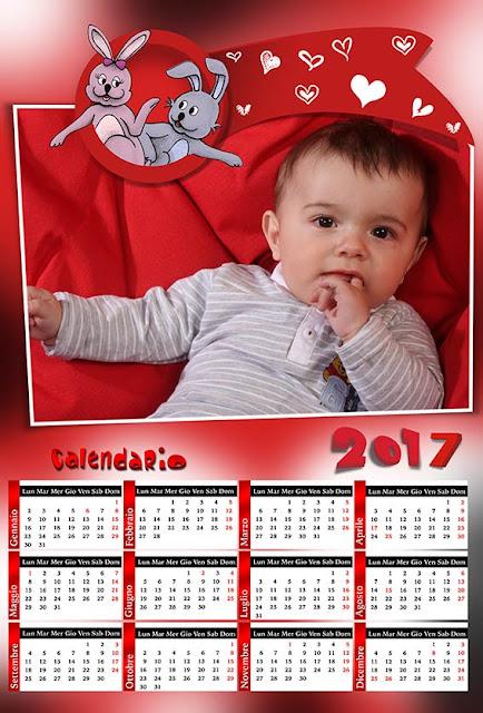Calendario 2017 per bambini, san valentino