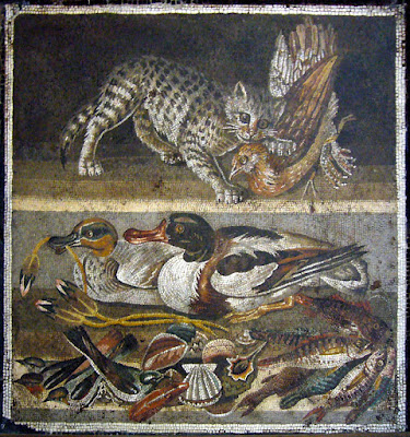 Roman mosaic representing a cat with a partridge in her mouth above ducks (on the left a male Eurasian Teal, on the right a Common Shelduck), birds, fish and shellfish.