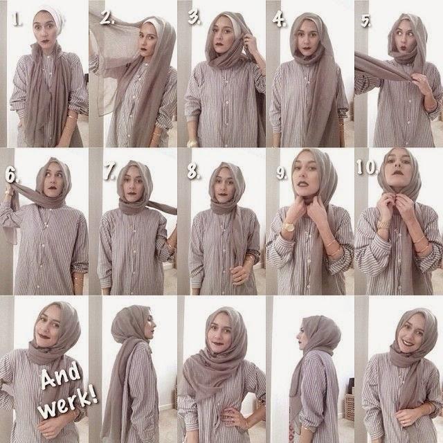 tutorial hijab pashmina katun ima