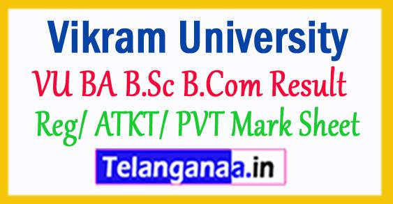 Vikram University Result VU BA B.Sc B.Com Result 2018