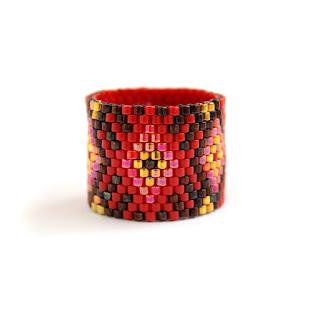 Купииь широкое кольцо в этно-стиле. Женское кольцо в стиле бохо. Интернет-магазин украшений из бисера ручной работы. Россия.  Параметры