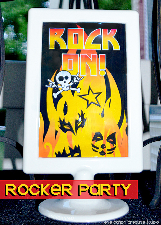 rock on sign for rocker party, kiss party, decor ideas for rocker party