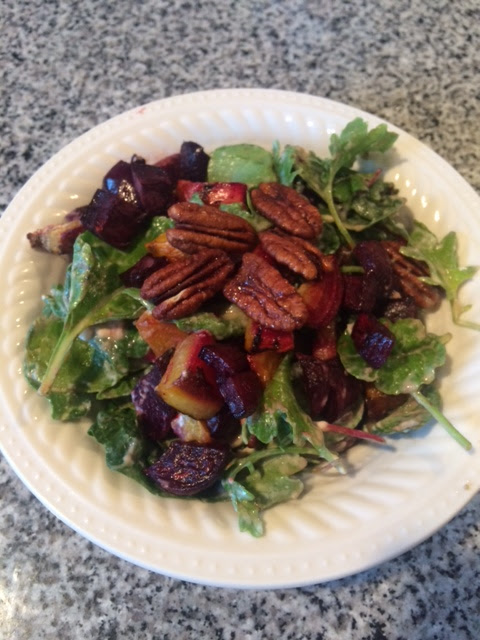 Mixed Greens Salad with Roasted Beets and Maple Tahini Dressing