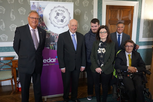 The Speaker of the Northern Ireland Assembly, Robin Newton MLA pictured with representatives from the Cedar Foundation, the Assembly Charity of the Year 2016
