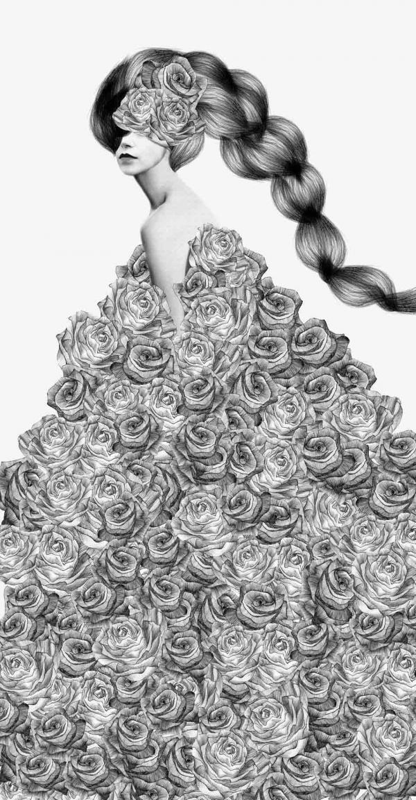 Dibujo  a lápiz de una mujer con rosas