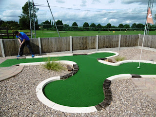 Richard Gottfried playing the UrbanCrazy built Miniature Golf course at Charnwood Golf Centre this summer