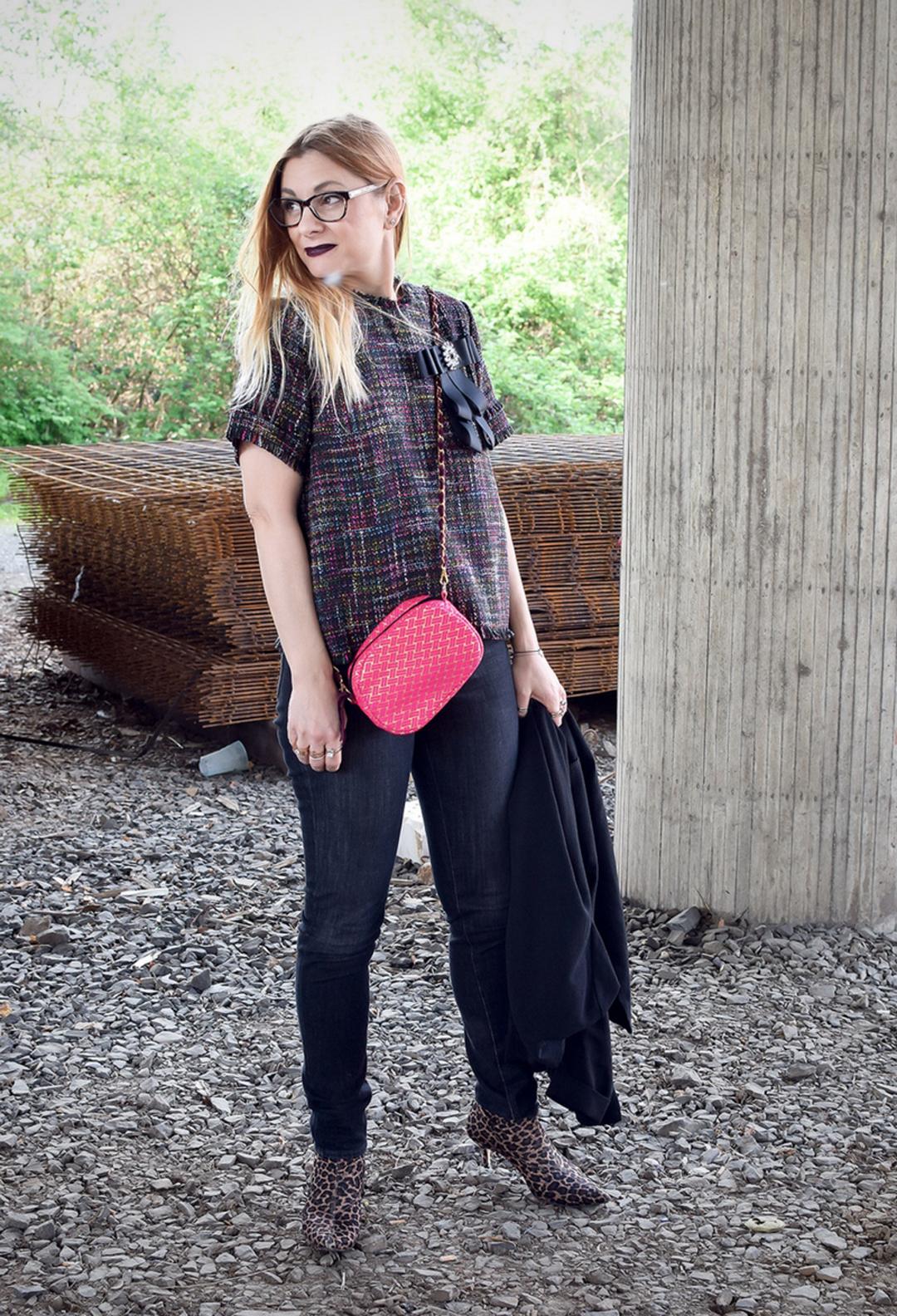 Leo Sockboots, Bouclé, Chanel, schwarze Skinny Jeans für frauen