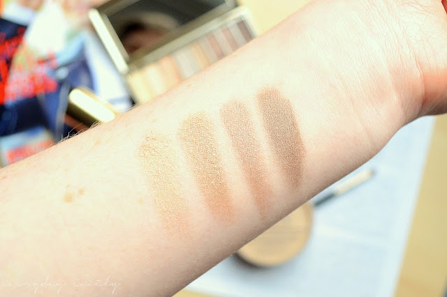 Swatces of No7's Stay Perfect Eyeshadow Palette in Nude