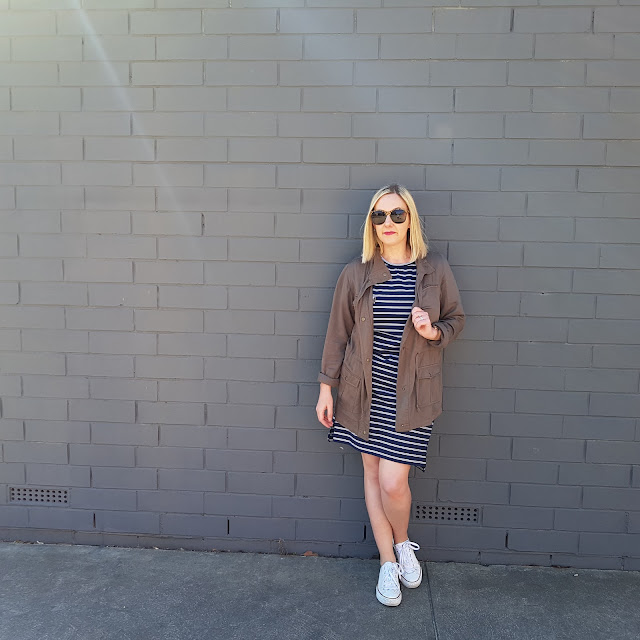 khaki anorak, stripe dress | Almost Posh