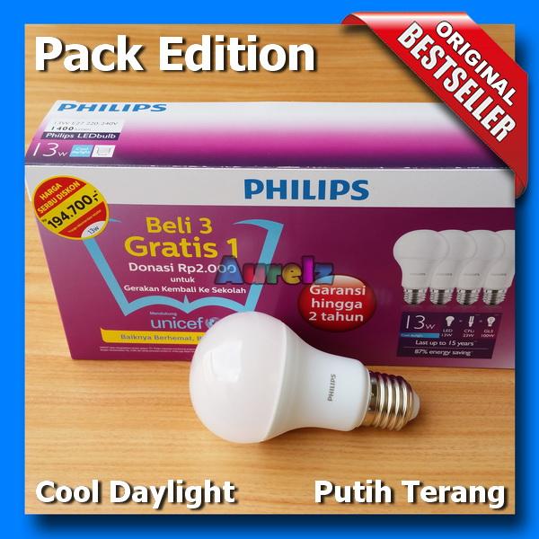 lampu led philips 13 watt cool daylight beli 3 gratis 1 edisi unicef pack edition