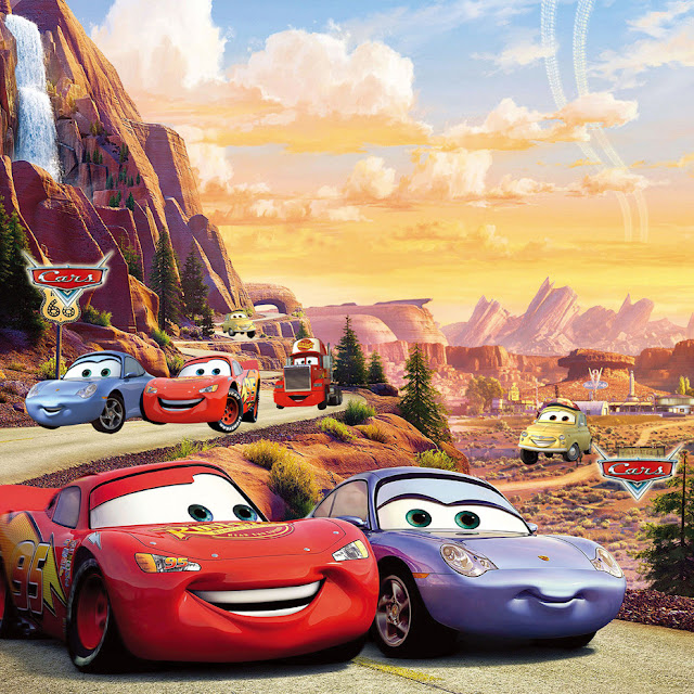 Disney Cars Wall Mural 3D Wallpaper Sticker Cars planes Brick Wall breaking through wall children room kids bedroom desert