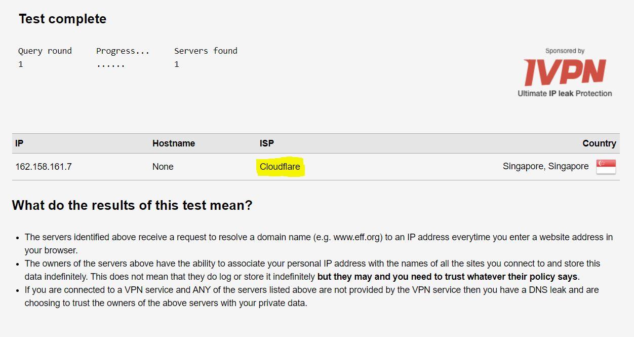 DNS Leak Test result