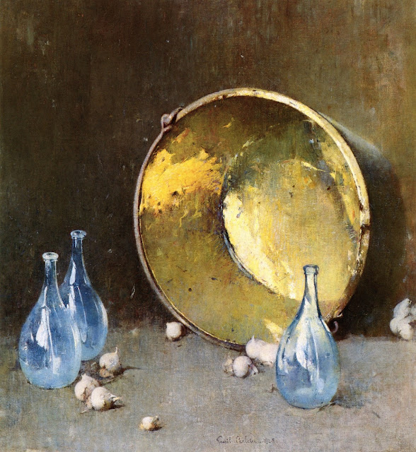 Magnificent still life painting with brass pot and blue bottles by Emil Carlsen Soren