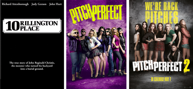 DVD covers 10 Rillington Place Pitch Perfect and Pitch Perfect 2