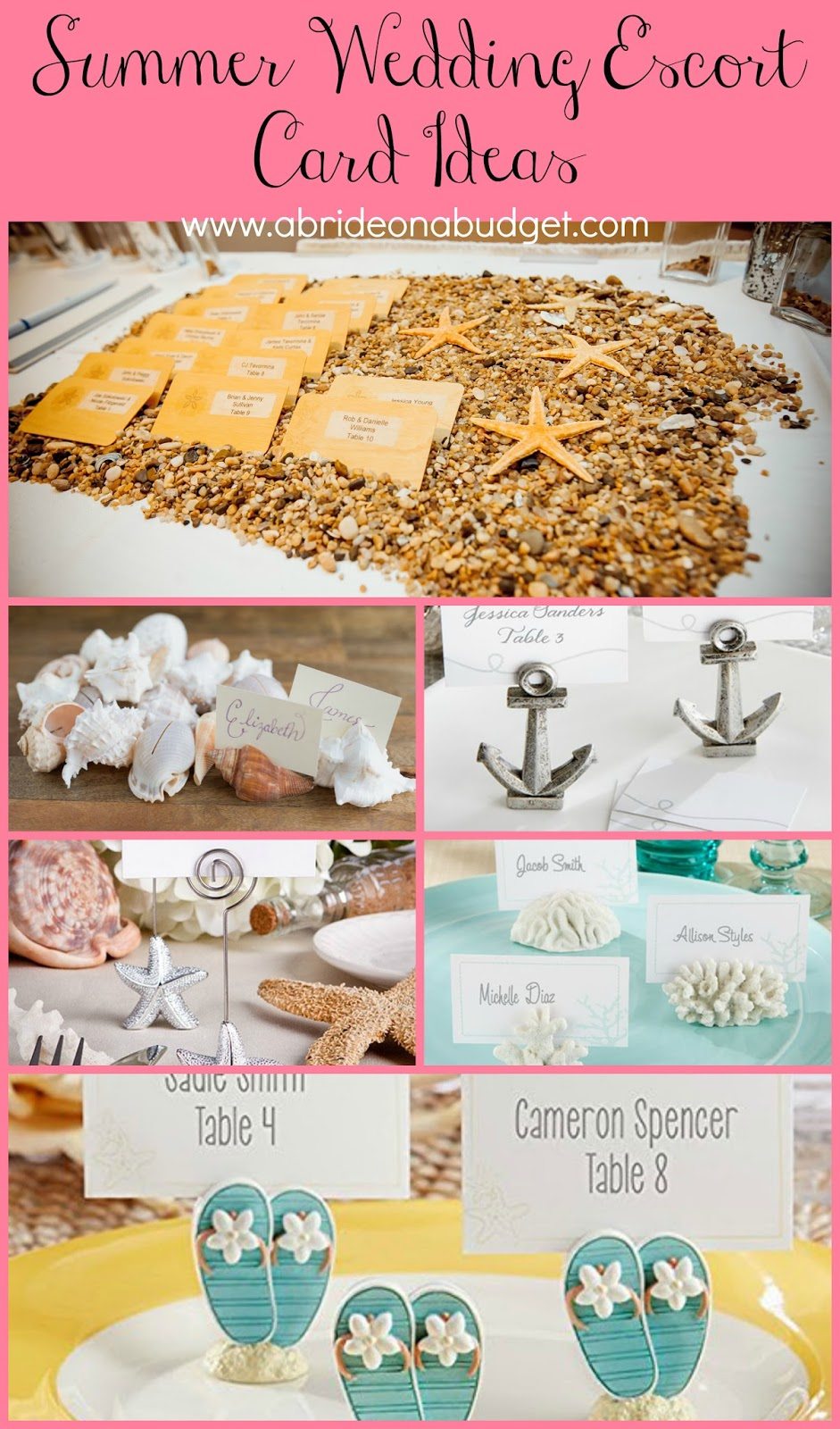 Planning a summer wedding? These REALLY CUTE summer wedding escort cards from www.abrideonabudget.com will be GREAT inspiration!