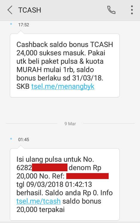 Bukti hasil transfer pulsa menggunakan TCASH Wallet Telkomsel