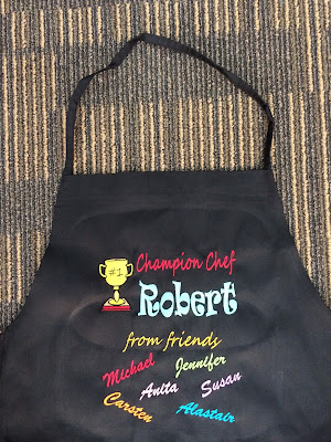 Black apron With customized embroidery