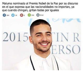 Meme de Humor  Maluma Premio Nobel de la Paz
