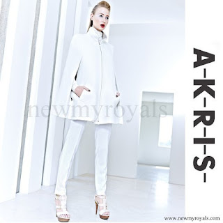 Princess Charlene of Monaco Akris white cashmere cape