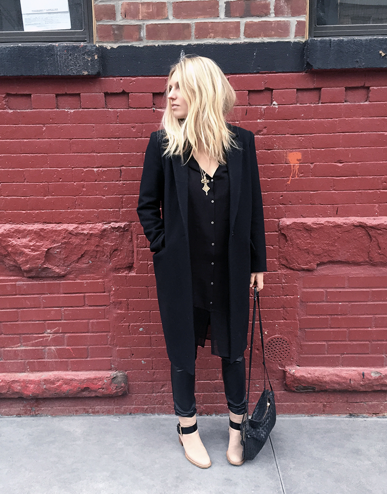 Zady coat, Helmut Lang dress, Chloé boots, Bottega Veneta bag, Trash & Vaudeville pants