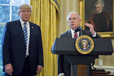 Donald Trump defends AG Jeff Sessions for meeting with Russian Ambassador during his campaign, says it's a Witch Hunt