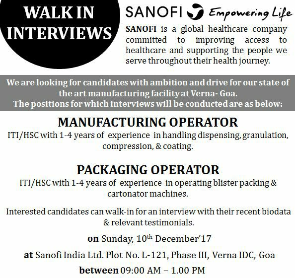 Sanofi India Ltd - Walk-In Interview for Operators - 10 Dec