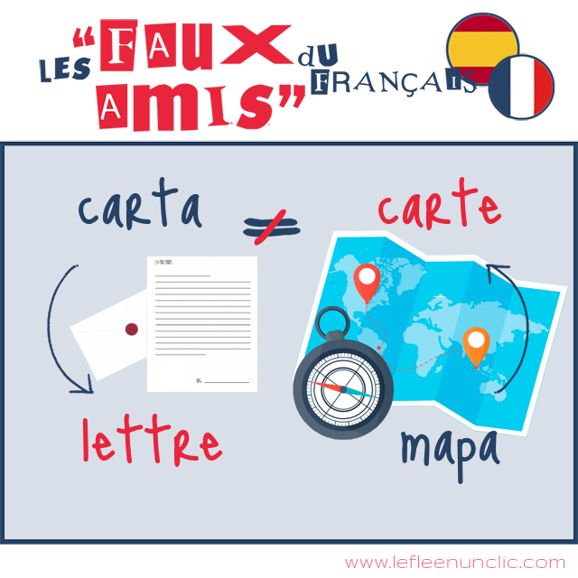 faux-amis, faux-amis français espagnol, carte, lettre, mapa, carta, FLE, le FLE en un 'clic'