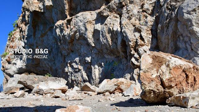 Ναύπλιο: Τεράστιοι οι βράχοι που αποκολλήθηκαν στον γύρο της Αρβανιτιάς - Αυστηρή απαγόρευση διέλευσης (βίντεο)