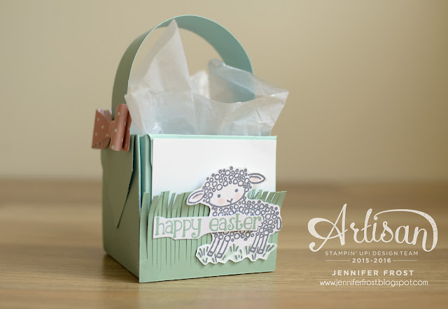 #TGIFc45, Papercraft by Jennifer Frost, Easter Basket, Gift Box Punch Board, Stampin' Up!, Easter Lamb, Bow Builder Punch