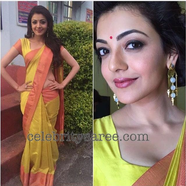 Kajal Agarwal in Simple Silk Sarees2