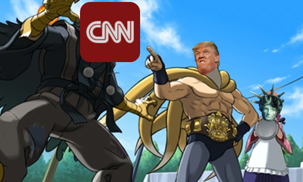 President Donald Trump CNN Statue of Liberty Phoenix Wright Ace Attorney Dual Destinies Amazing Nine Tails Tenma Taro Jinxie meme