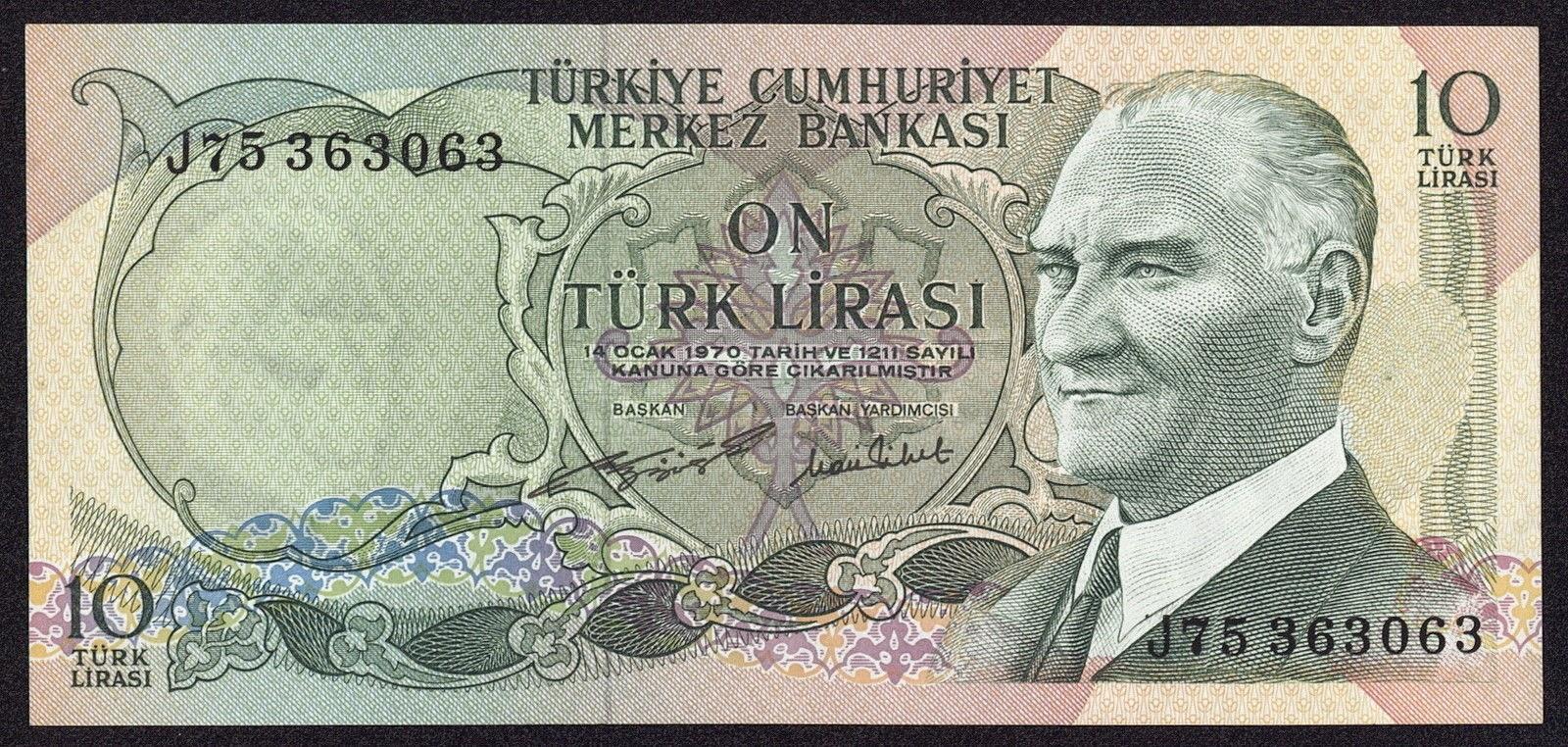 """Turkey Banknotes 10 Türk Lirasi """"Turkish Lira"""" note 1970 Mustafa Kemal Atatürk"""