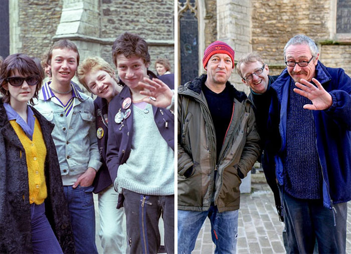 Photographer Recaptures Old Pictures Creating A Beautiful Reunion Of People He Photographed Decades Ago - Pin Badges (1970 And 2013)