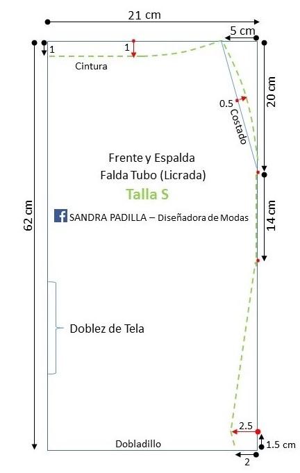 8dc29b051 Aprende con SANDRA PADILLA : Falda Lápiz o Falda Tubo- en tela Licrada