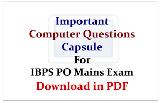 Important Computer Questions Capsule for IBPS PO Mains Exam- Download in PDF