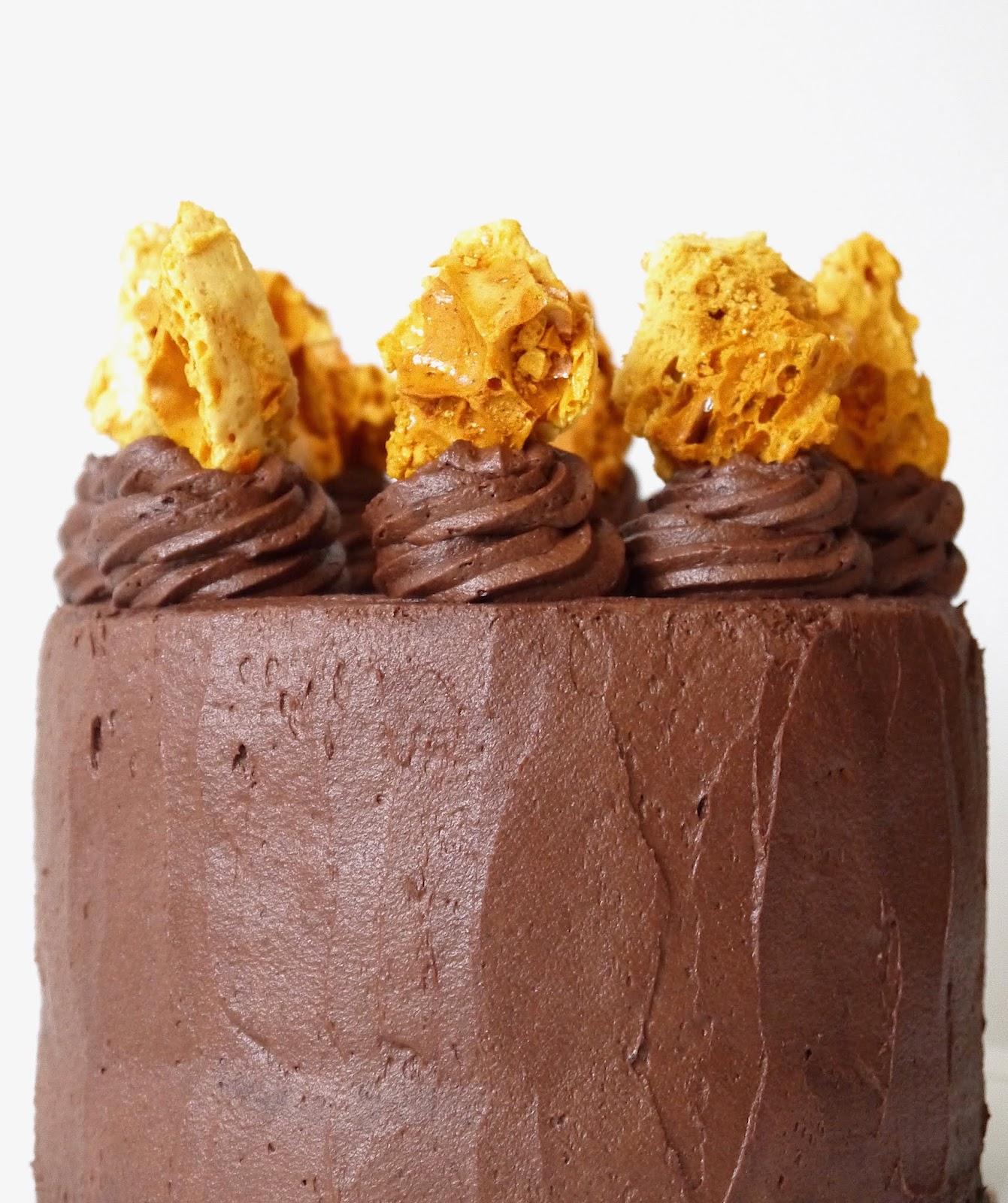 The Betty Stamp The Best Honeycomb Chocolate Cake Crunchie Recipe