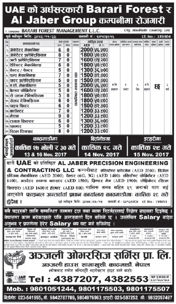 Jobs in UAE for Nepali, Salary Rs 56,500