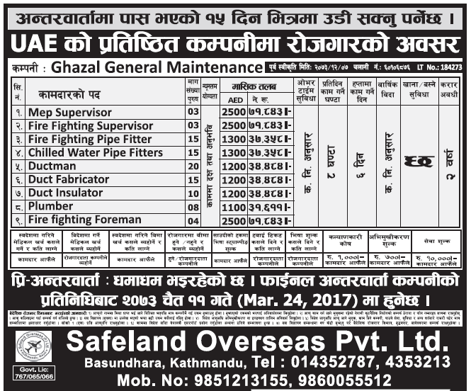 Jobs in UAE for Nepali, Salary Rs 71,843