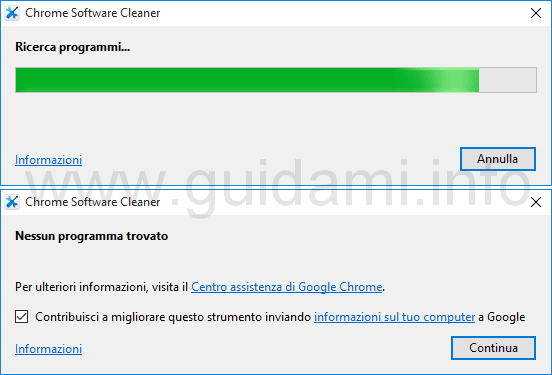 Chrome Software Cleaner ricerca programmi dannosi