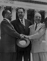 Thurgood Marshall (center) Brown v Board of Education