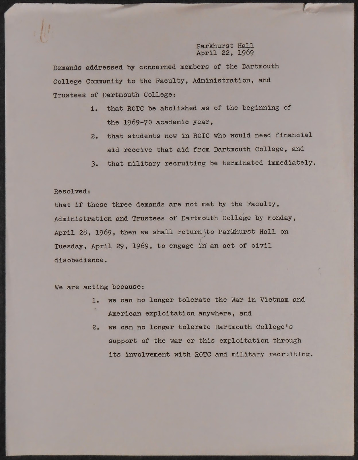 A list of typed demands.