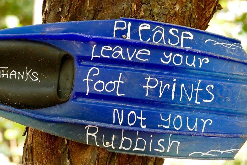 Hinterlass Deinen Fußabdruck, nicht Deinen Müll