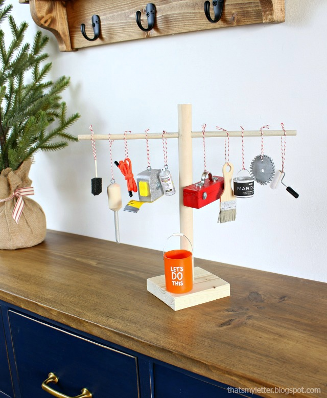 diy mini tool tree with ornaments
