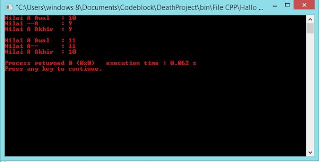 Gambar output program decrement