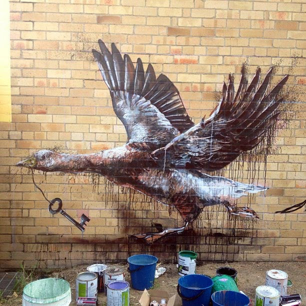 """Missing Keys"" New Mural By Fintan Magee On The Streets Of Brisbane, Australia. 2"