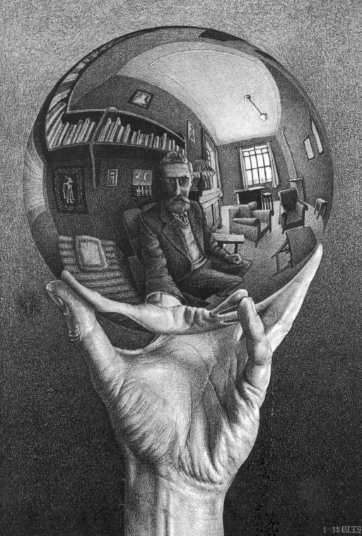 Escher: Mano con sfera e riflesso