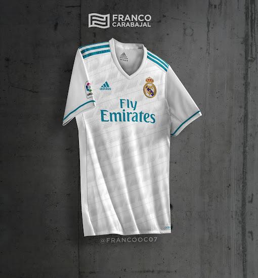 Camiseta blanca con detalles en gris y en verde azulado para el Madrid  2be4eff90ed8c