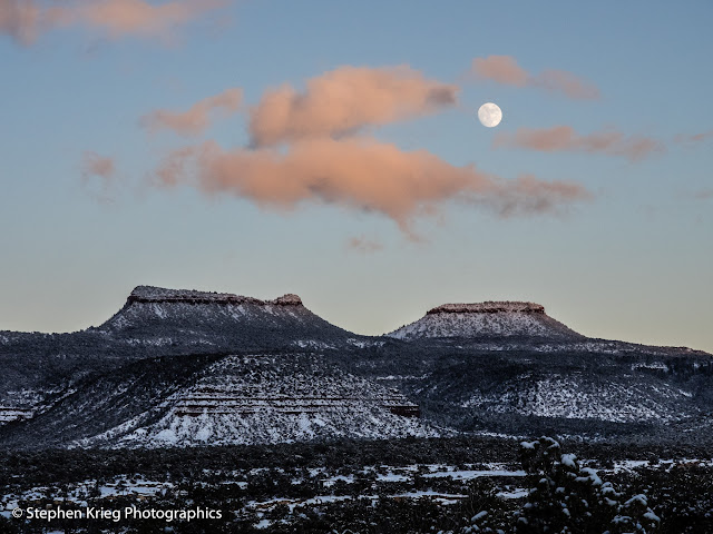 Bears Ears Buttes and moonrise, San Juan County, Utah.