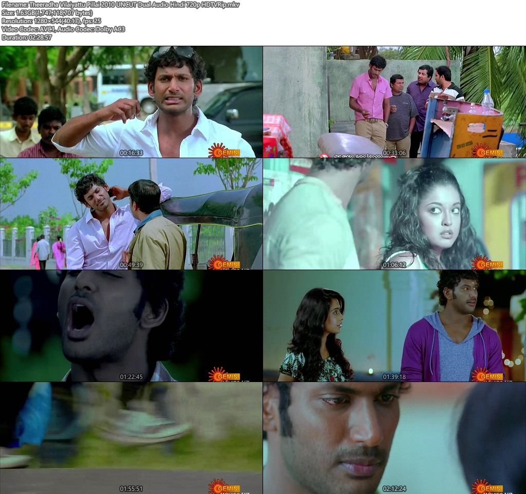 Theeradha Vilaiyattu Pillai 2010 UNCUT Dual Audio Hindi 720p HDTVRip | 480p | HEVC Screenshot