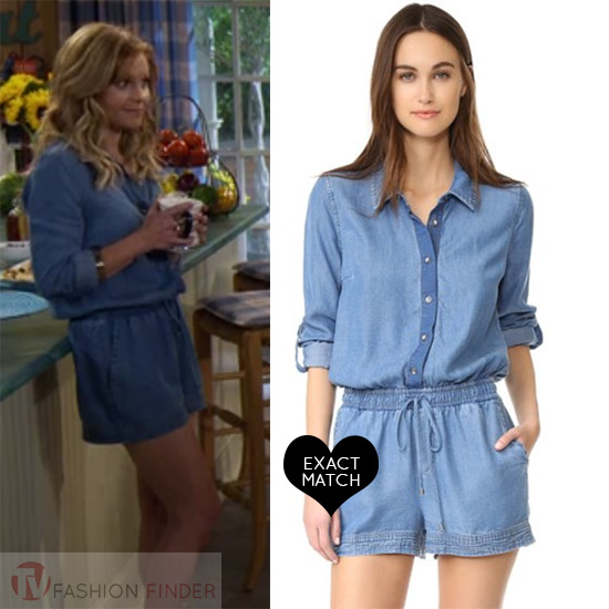 3db4e98fc6ff Candace Cameron Bure as DJ Tanner in blue denim romper on Fuller House season  3